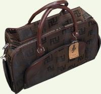 Сумка дорожно-хозяйственная 061, из ткани, цвет - темно-коричневая